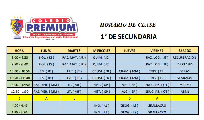 1 SECUNDARIA - Horario - 1º secundaria