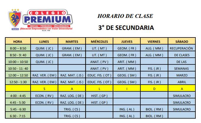 3 SECUNDARIA - Horario – 3º secundaria