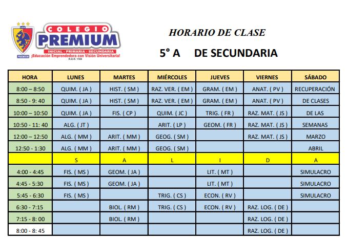 5A SECUNDARIA - Horario – 5º A secundaria