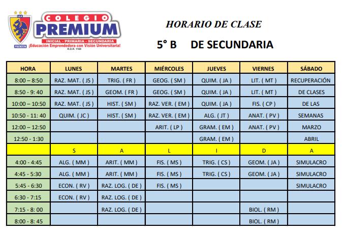 5B SECUNDARIA - Horario – 5º B secundaria